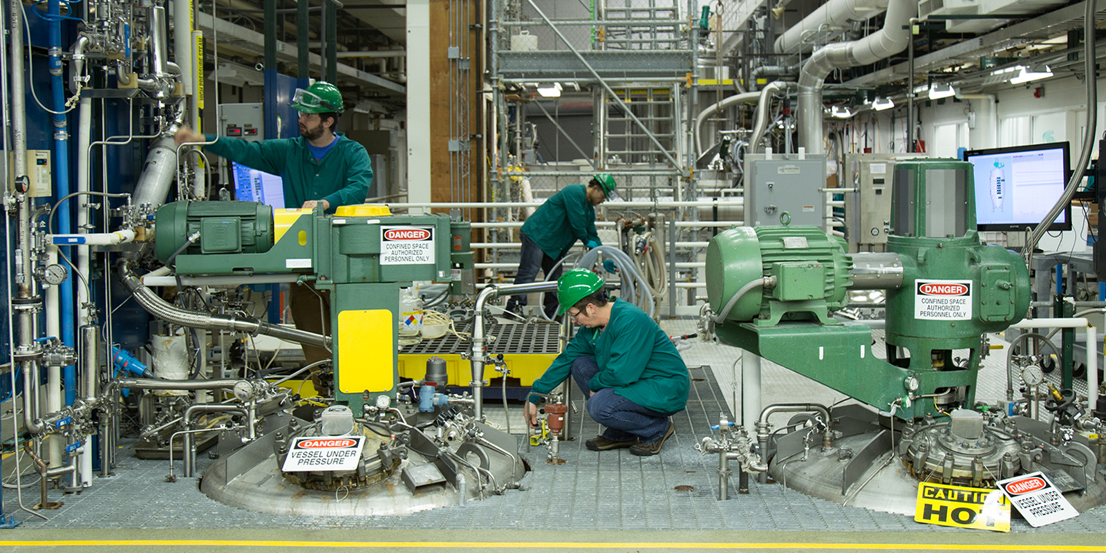 Inside of scale up chemical manufacturing plant