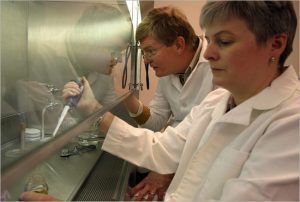 John Frost, left, and his wife, Karen Draths, in their company lab. Credit Fabrizio Costantini for The New York Times