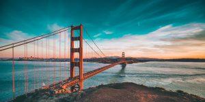 Golden Gate bridge in San Franciso taken at sunset