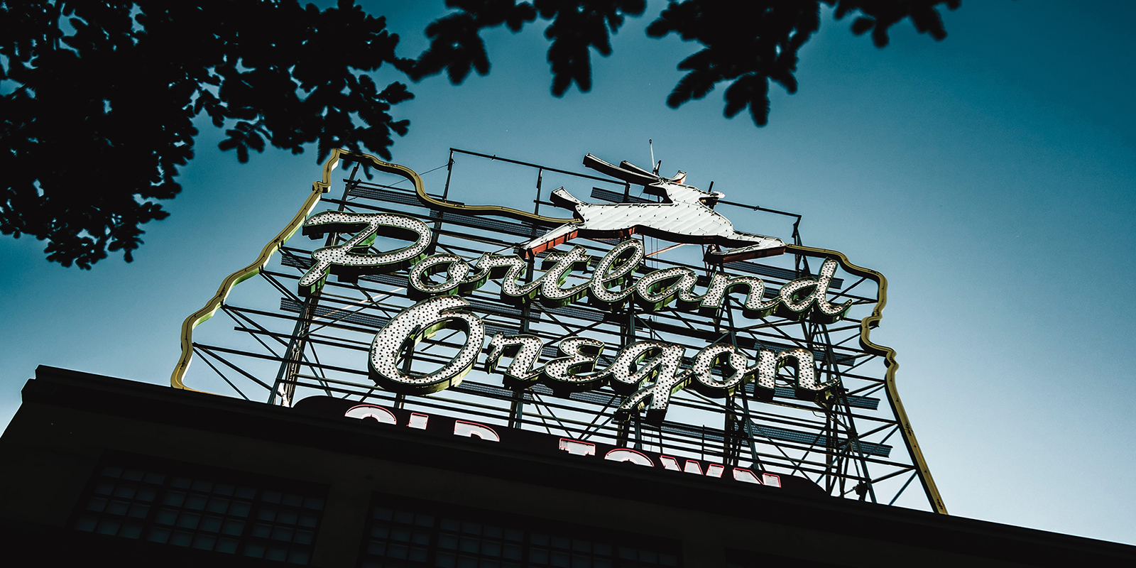 Image of Portland sign in Old Town district